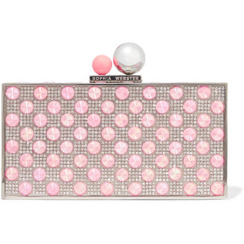 Sophia Webster - Clara embellished silver-tone box clutch