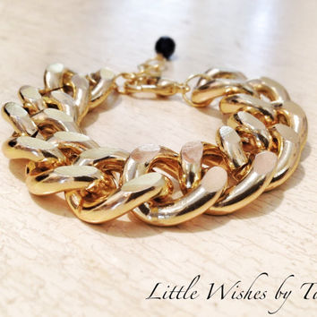 Chunky Chain Bracelet 18K Gold Plated Thick Statement Michael Kors Celebrity Inspired