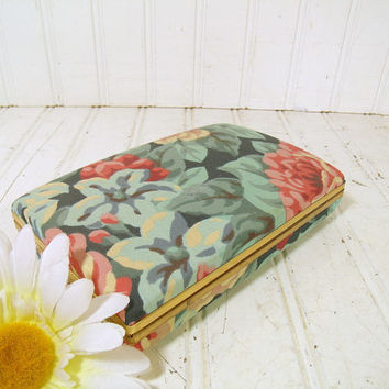Retro Pastel Floral Fabric Jewelry Clam Shell Case - Vintage Ivory Pink Blues Bark Cloth Travel Box - Jewelry Organizer with Original Mirror