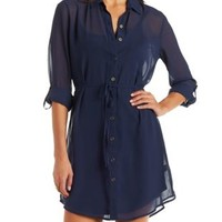 Navy Sheer Chiffon Belted Shirt Dress by Charlotte Russe