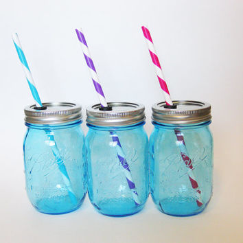 Blue Mason Jar Tumbler, Mason Jar Glass, Mason Jar Cup, Wedding Favors, Glass Tumbler, Blue Mason Jar Cup, Party Glasses
