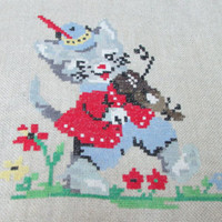 "Handmade Tapestry ""Puss in Boots"", Beautiful Handmade, Beautiful Decor for Your Wall"