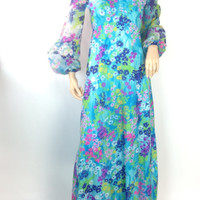 Vintage 70s Maxi Dress Neon Floral Dress Hippie Flower Power Dress