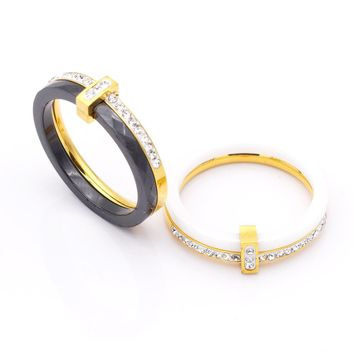 QLZBAO 2 Stlye Fashion Delicate Stainless Steel  And Ceramics Rings For Women Manual Mosaic Zircon Ring For Wedding Gift