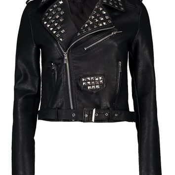 Tara Studded Faux Leather Biker | Boohoo