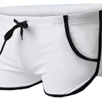 Linemoon Men's Solid Boxer Swimming Briefs With Tie Front