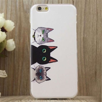 Three Cats Print iPhone 5/5S/6/6S/6 Plus/6S Plus Case Gift Very Light Case-26