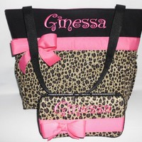 Hot Pink  Accents .. Cheetah ... LEOPARD  Print.... Diaper  Bag  | TweedleTotes - Bags & Purses on ArtFire