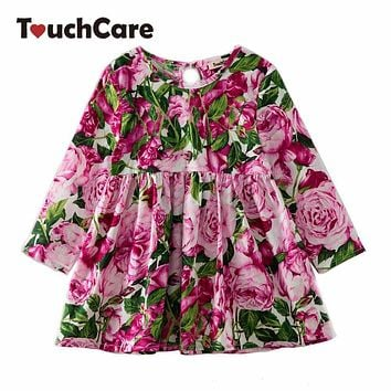 New Baby Girl Floral Dresses Kids Long Sleeve Rose Flower Printed Princess Wedding Party Dress Children Pleated Clothes Costume