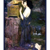 Pandora and Her Box inspired by John William Waterhouse Counted Cross Stitch or Counte
