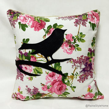 Bird In My Spring Garden. Black Bird Pink Roses Floral Pillow Cover. Modern Cottage Chic. Decorative Throw Cushion Cover