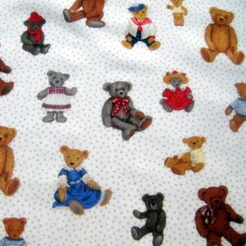 Spotted Teddy Makower UK Fabric 100% Cotton Quilting Sewing