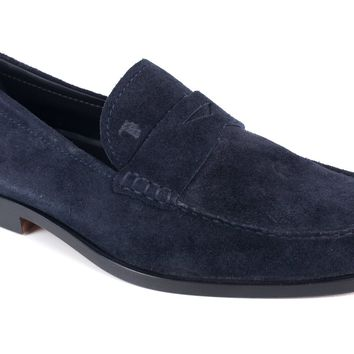 Tod's Men's Navy Blue Boston Suede Penny Loafers