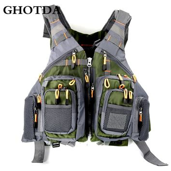 GHOTDA Outdoor Sport Fishing Men Women Breathable Swimming Life Jacket Safety Waistcoat With Multi-pockets