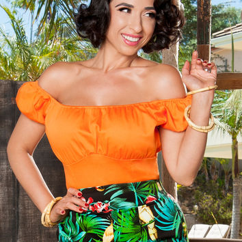 Pinup Couture Peasant Top in Orange
