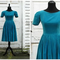 Great for Halloween, Christmas, or New Years/ Breath Taking Elegant Vintage 50s Blue Velvet Swing Evening Holiday Cocktail Party Dress