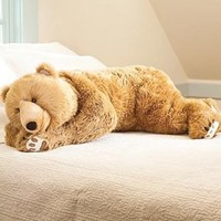 Super-Soft Bear Hug Body Pillow with Realistic Features in Golden Brown: Home & Kitchen