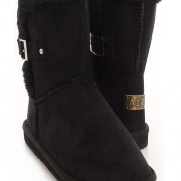 Black Faux Suede Fur Trimmed Ankle
