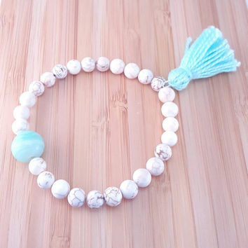 Pastel beaded tassel bracelet // cream gemstone beads // seafoam tassel // boho chic
