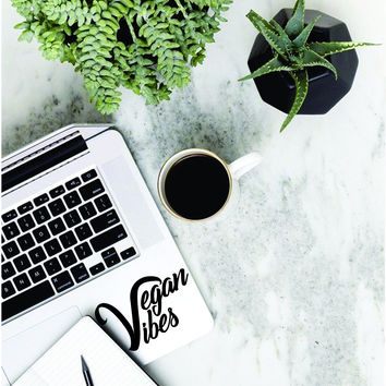 2 EXTRAS FREE - Vegan Vibes Laptop Apple Macbook Quote Wall Decal Sticker Art Vinyl Cruelty Free Healthy Plant Organic