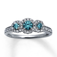 Light Blue Diamonds 7/8 ct tw Engagement Ring 14K White Gold