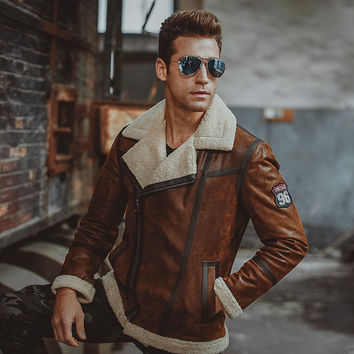 Men's real leather jacket Faux fur shearing motorcycle Genuine Leather bomber jackets aviator coat men