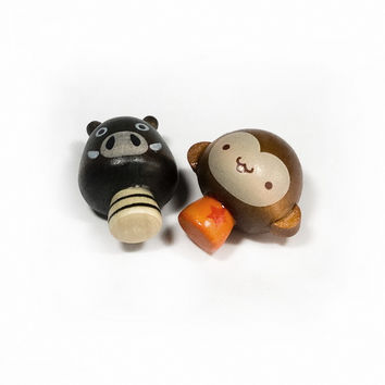 [Mini Pig & Monkey] - Refrigerator Magnets / Animal Magnets