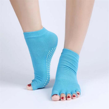 1pair Cotton Half Toe Socks Non-Slip Peep Toe Anti-Slip Pilates Ankle Grip Durable Open Half Fingers Socks