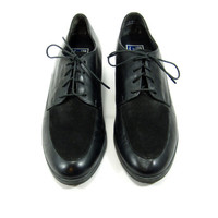 Black Leather and Suede Oxfords - Flats, Brogues, Menswear, Lace Up Shoes, Grunge, 90s, Size 9.5