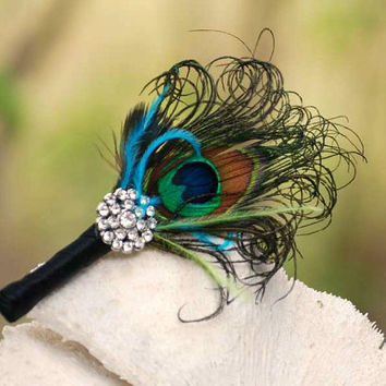 Boutonniere Peacock & Rhinestone Crystal. Lime Green Turquoise, Ivory / White / Black Ribbon. Sophisticated Groom Groomsmen, Summer Wedding