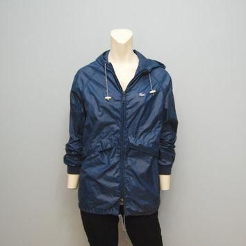 Vintage Women's Lacoste Alligator Rain Jacket Windbreaker Navy Blue Size Small 1980's