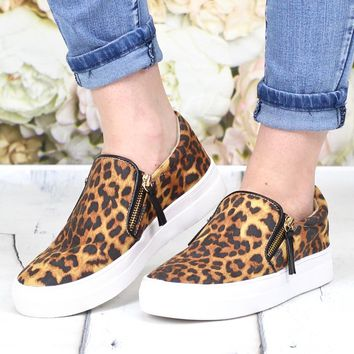 Not Rated: Leopard Zipper Tim Slide On Sneakers {Brown Mix}
