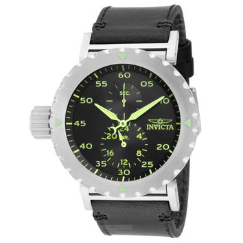 Invicta 14639 Men's I-Force Lefty Green Accent Black Dial Black Leather Strap GMT Watch