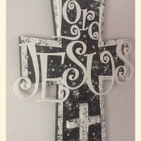 Christian Wood Wall Cross - Wall art - Black and White