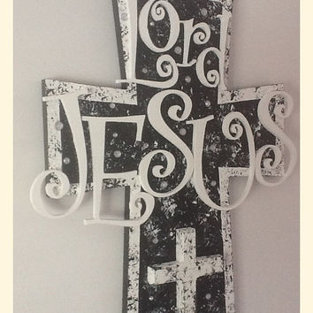 Charmant Christian Wood Wall Cross   Wall Art   Black And White