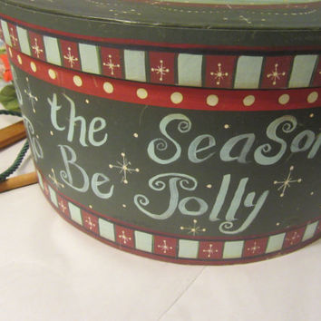 Vintage Round Christmas Cardboard Hat Box with Snowmen - Tis' the Season to be Jolly