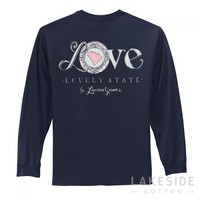 Lovely State - South Carolina in Navy   Lakeside Cotton