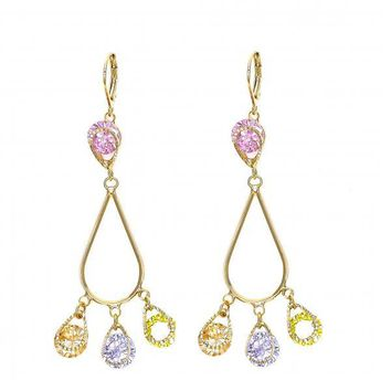 Gold Layered Chandelier Earring, Teardrop Design, with Crystal, Gold Tone