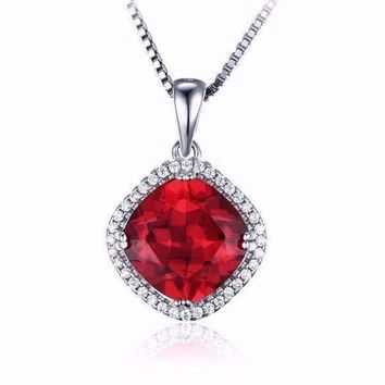 Passion Rubellite Cushion Cut 6.8CTW IOBI Precious Gems Halo Pendant Necklace