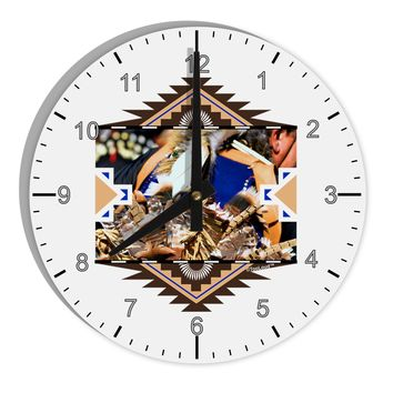 """Native American Dancer 1 8"""" Round Wall Clock with Numbers"""