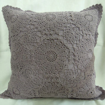 Lilac CROCHET CUSHION COVER- Handmade - Home and Wedding Decor - Throw Pillow - Decorative Pillow - 2015 trends- Lilac Color - Wedding gifts