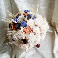 BIG Cream rustic wedding BOUQUET Cream Flowers, wheat, bell cup, autumn wedding, sola roses,
