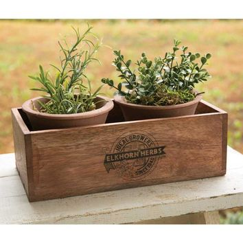 Elkhorn Herbs Planter with Two Handmade Terra Cotta Pots