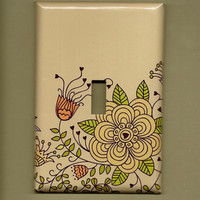 Oversized 35 x 525 Floral Switchplate cover by TurnMeOnArt on Etsy