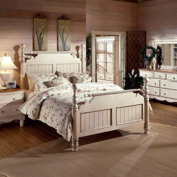 1172-wilshire-bed-queen-rails-nightstand-dresser-and-mirror - Free Shipping!