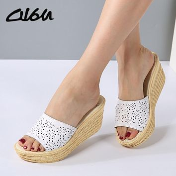 O16U Women Mules Clog Shoes Leather Slip on Peep Toe Ladies Cork Wedge Sandals Female Platform Sandals Shoes Flats 2017 Summer