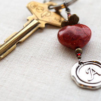 Monogram Keychain or Necklace, Personalized Keychain, Initial Keychain, Red Coral Heart, Wax Seal, Valentines Gift, Good Luck Charm