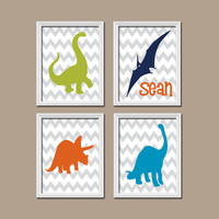 DINOSAUR Boy Wall Art Nursery Canvas Dino Artwork Custom Name Child Bedroom Bathroom Chevron Print Set of 4 Prints Baby Decor Choose Colors
