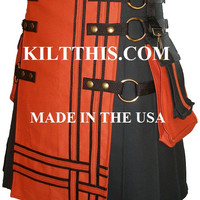 Utility Kilt Handmade Durable Black w Orange Duck Cloth Large Cargo Pockets Interchange Parts - custom