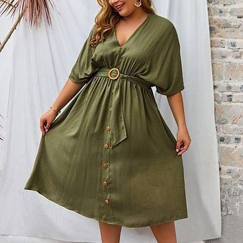 2020 New Women's V-neck New Solid Color Sleeve Dress